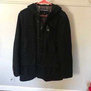 Steve Madden black wool peacoat with hood size Lg